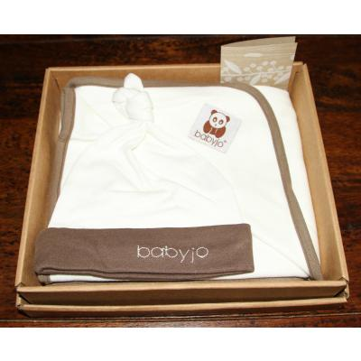 Babyjo Natural Eco Blanket/Wrap and Beanie Gift Box