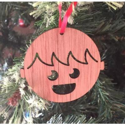 Boy Recycled Wood Christmas Decoration by Scoop Designs
