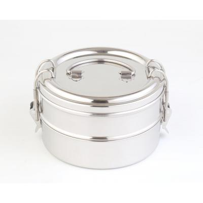 Double Stainless Steel Bento Round Lunch Box