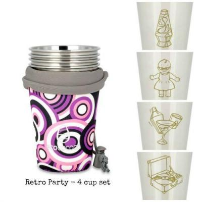 Ecococoon Retro Party Stainless Steel 4 Cup Set