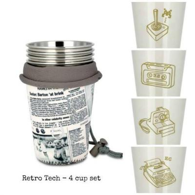 Ecococoon Retro Tech Stainless Steel 4 Cup Set