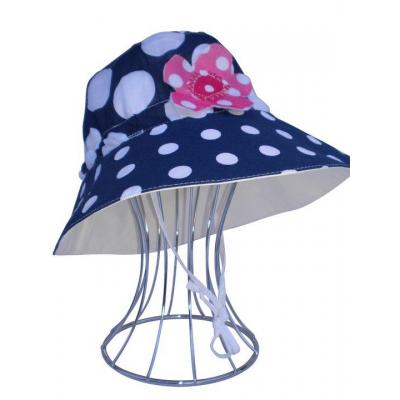 Navy  Polka Dot with Applique Flower with White Suede Feel Inner Reversible Hat