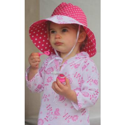 Pink and White Bird with Hot Pink with White Polka Dot Inner Reversible Hat
