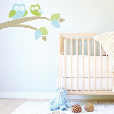 Trendy Peas Mum & Baby Owl Fabric Wall Decal