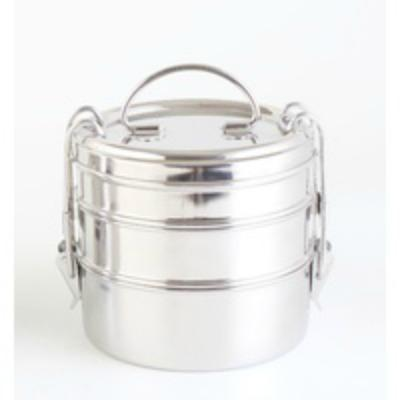 Triple Stainless Steel Bento Round Lunch Box
